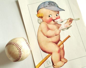 Kewpie Ice Cream Ad ~ Art Print 856 ~Early 1900's Rose O'Neill ~Hat Baseball Bat~Wall Art,Baby/Kids Room Wall Decor /0411