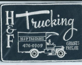H and F Trucking Grants Pass OR truck driver patch 3-1/2 X 4-7/8