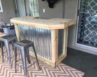 The Metal foo-bar - 6' Rustic Corrugated Metal and Treated Wood U shaped outdoor patio bar