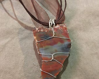 Petrified Wood necklace wire wrap