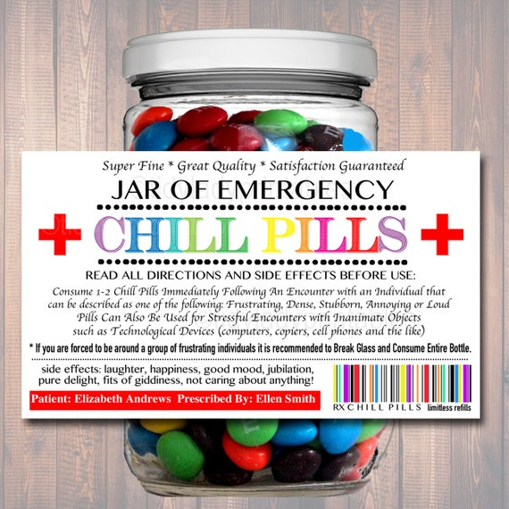 Slobbery image in chill pill label printable