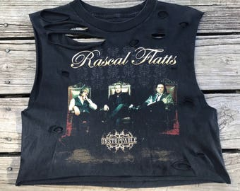 RASCAL FLATTS Unstoppable Tour Black Rebel Fray Custom Distressed Crop Tank Top Shirt Women's S-M