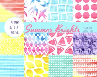Summer Digital Paper, Watercolor, Summer, Bright, Scrapbook Paper, Digital Scrapbook, Digital Paper Pack, Digital Paper