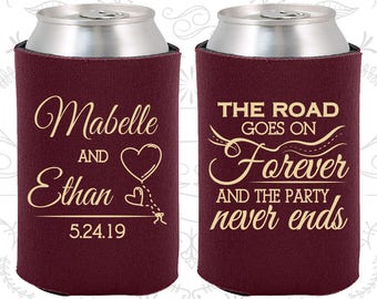 The Road Goes on Forever and the Party Never Ends, Wedding Decor, Romantic Wedding, Fairy Tale Wedding, Wedding Can Coolers (479)