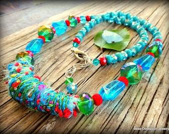 Boho Necklace; Textile Necklace; Bright Fiber Necklace; Blue Green Bohemian Necklace; Hippie Necklace; Festival Jewelry; Australian Seller