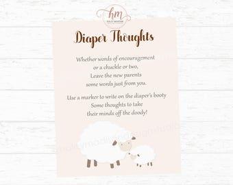 Lamb Baby Shower Diaper Doody Sign, Little Lamb Baby Shower game, Diaper Thoughts game DIGITAL FILE