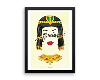 FRAMED Flawless Cleopatra Poster, Calligraphy Print, Minimalist Illustration, Music Poster, Typography Art Print, Queen B Gift for Her