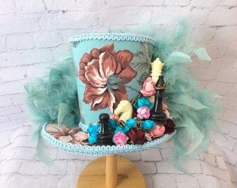 Alice in Wonderland Mini Top Hat,   Tea  Party Hat , Mini Top Hat Fascinator , Mini Hat Headband,Mad Tea Party hat