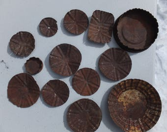 Altered for you!  14 Awesome Rusty Can Lids/Rusty Pieces-craft project, mixed media, folk art, altered art