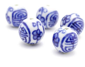 Vintage Navy and White Chinese Porcelain Beads 14mm