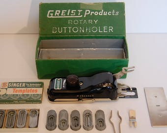 Vintage Greist Products Rotary Button Holer with original box and all original accessories 1950's, vintage sewing machine accessories