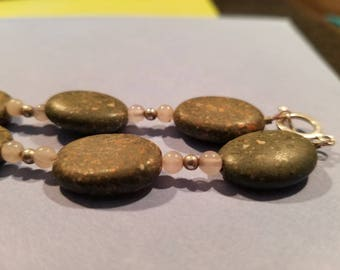 Super pretty stone necklace. Pink and gray. Must have   Special OFFER