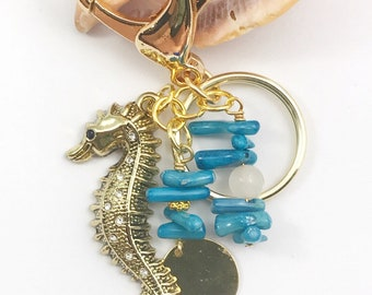 Bamboo coral seahorse keychain, purse accessory, keychains
