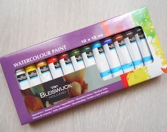 12 watercolor painting in water 12 ml tubes
