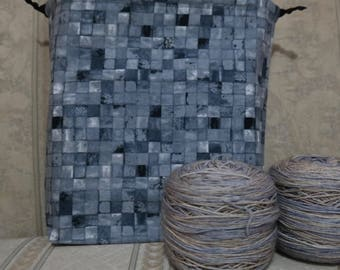 Grey tiles: Large Drawstring Project bag
