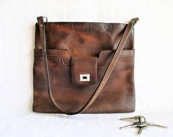 vintage thick distressed tan leather slim shoulder bag