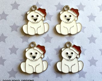 4 Christmas polar bear charms - Enamel polar bear charms - Christmas charms - Enamel charms - Jewellery making supplies - UK charms - UK