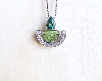 Raw peridot pendant, raw peridot jewelry, rough peridot, green tourmaline, raw crystal pendant, raw gemstone jewelry, tourmaline pendant
