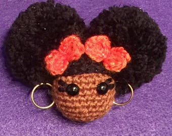 Afro puff keychains/purse charm