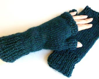 Hand-dyed Wool Fingerless Mittens
