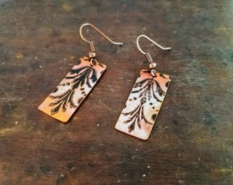 Etched copper rectangular french patterned fleur di lis dangle earrings
