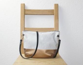 Leaf copper cross body bag with a leather strap, cross body bag, shoulder bag, shoulder bag, copper art leather, handbag, Lady handbag