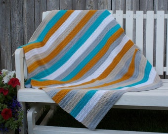 Crochet, half double stitch, Day at the Beach baby/toddler/adult lap blanket