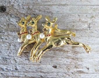 Vintage Reindeer Brooch- 3 Reindeer Christmas Gold Tone Brooch