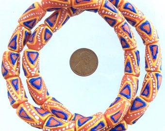 Orange Color with blue and with swirl design African Krobo Recycled Glass Trade Beads (28PCS)