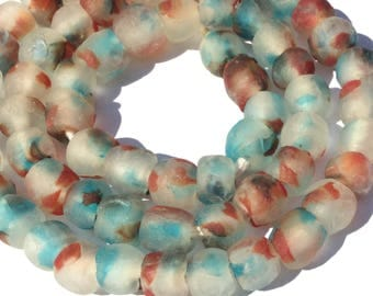 60 Transparent matte Crystal Turquoise Blue multi Ghana Round Krobo Recycled Glass African trade beads