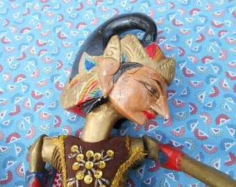 Javanese puppet, Wayang golek rod puppet, Indonesian folk art, hand carved, hand painted puppet from Java.