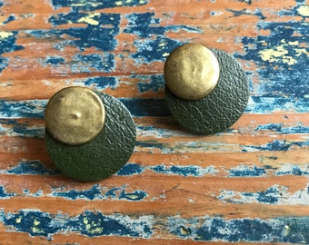 Vintage Handmade Green Leather and Brass Round Earrings