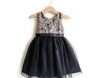Flower girls dress black and gold lace tutu dress, formal dress for toddler and girls, Gold and black girls dress