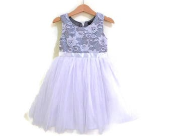 Grey and White flower girl's dress. Satin and lace dress for little girl, White and gray dress, white or ivory lace tutu dress