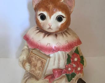Vintage 1980's Emily The Cat Ceramic Cookie Jar with 11x7- Mervyns- Pink