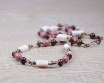 Pink Opal Rose Quartz Copper Necklace