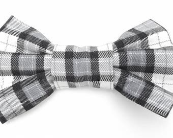 Dog Bow Tie - Slide on Dog Bow Tie - Black and White Plaid Check
