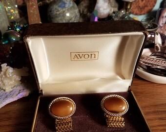 Avon tiger eye cufflinks vintage