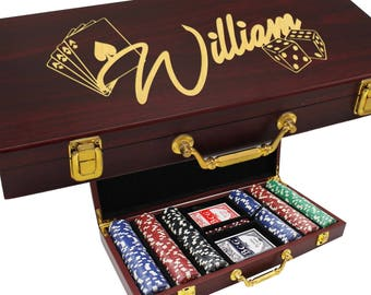 Personalized Poker Set, Poker Gifts, Poker Chip Display, Poker Player Gifts, Poker Lover Gifts, Poker Case, 100 Chip Set with Dice and Cards