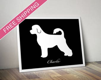 Personalized Portuguese Water Dog Silhouette Print with Custom Name - Portuguese Water Dog art, modern dog home decor, dog gift, dog poster