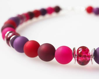 purple necklace pink magenta berry glass pearls handmade polaris necklace unicate