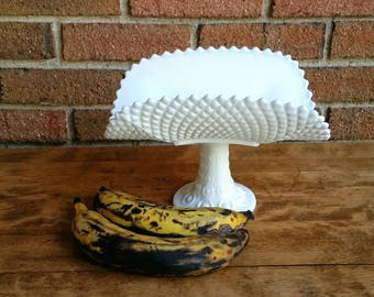 Milk Glass Banana Bowl, Mid Century Diamond Milkgass Pedestal Fruit Bowl Stand