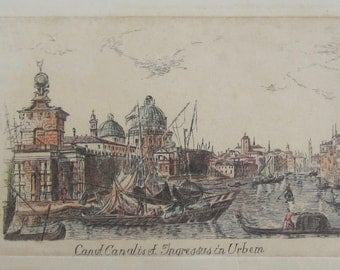 Early 19th Century Caput Canalis Et Ingressus In Urbem Hand Colored Etching - Venice View By Visentini After Canaletto - Free Shipping