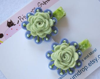 Mint Green Felt Rose Hairclips for Girls, Beaded Flower Hairclips for Toddlers and Babies