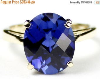 On Sale, 30% Off, Created Blue Sapphire, 10Ky Gold Ring, R055