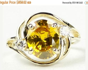 On Sale, 30% Off, Golden Yellow CZ, 18KY Gold Ring, R021
