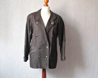 Leather jacket with decorative buttons in a military style, Vintage Brown coat Men Women chic clothing M/L