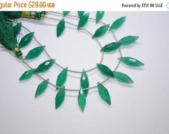 40%DIS 22-26MM 12 pcs-Finest Green Onyx- AAA Faceted Green Onyx Elongated Dew Drops Shape Briolette Beads