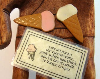 Ice cream cone magnets, kitchen magnets, refrigerator magnets, made in Hong Kong, magnets, Ice Cream decor