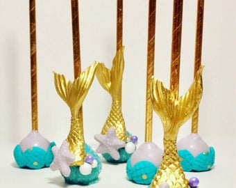 12 Cake Pops, Mermaid Party, Beach Party, Birthday, Summer Party, Pool Party, Under the Sea